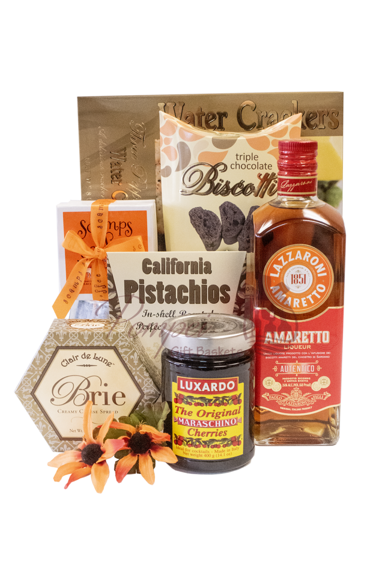 Awesome Amaretto Liqueur Gift Basket, Italian gift basket, Italian gift basket nyc, Lazzaroni Gift Basket, Amaretto Gift Basket, Gifts for Italians, Engraved Amaretto, Engraved Lazzaroni