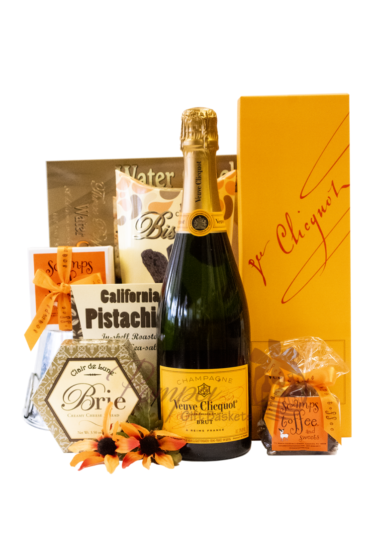 Vibrant Veuve Champagne Gift Basket, Champagne Gift Basket, Veuve Clicquot Gift Basket, Veuve Gifts with Engraving, Engraved veuve Clicquot, Veuve yellow label gift basket, High-End Chamapgne Gift Baskets, Engraved High End Champagne, Veuve Clicquot Gifts, Limited Edition Veuve Clicquot