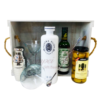 Greek Martini Gift Basket, martini gift basket, greek gifts, greece gifts, get them to the greek, kastra elion, vodka gift basket, greek inspired gifts