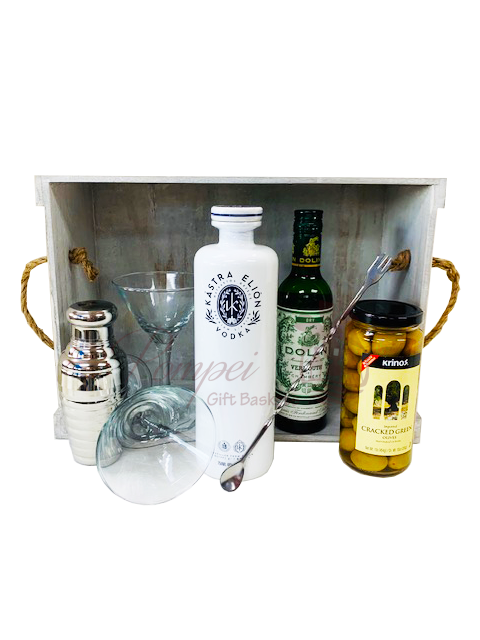 Greek Martini Gift Basket, martini gift basket, greek gifts, greece gifts, get them to the greek, kastra elion, vodka gift basket, greek inspired gifts