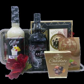 Lets Get Kraken Rum Gift Basket, Kraken Gift Basket, Spiced Rum Gift Basket, Pina Colada Gift basket, Pina Colada Gifts, Engraved Pina Colada Gifts, Engraved Rum, Cocktail Gift Baskets