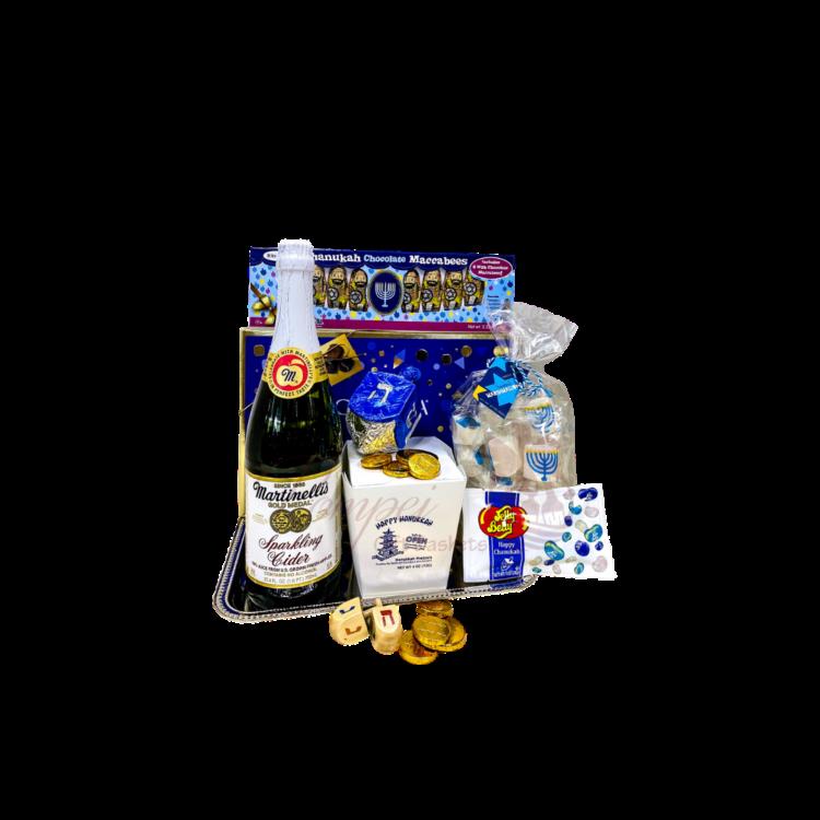 For the Kids Celebration Gift Basket, kid friendly hannukkah basket, kid friendly Chanukah basket, Chanukah gifts for kids, hannukkah gifts for kids