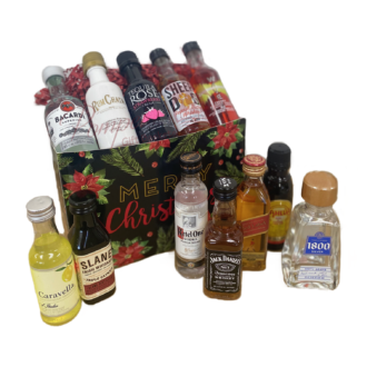 Holiday Mini Bar Gift Basket, christmas gift basket, christmas mini bar, holiday gift basket, 50ml gift basket, assorted liquor gift basket, merry christmas gifts, corporate holiday gift basket, virtual cocktail kits, zoom meeting gifts, quarantine meeting gifts