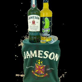 Jameson Pickle Back Whiskey Gift Basket, Jameson Gift basket, Irish Gift Basket, Pickleback gifts, Jameson Gift Set, Engraved Jameson, St Patricks Day Gifts, St Patricks Day Giftbasket, St Patricks Day Hamper, Pickle lover gifts, jameson gifts, send jameson gift