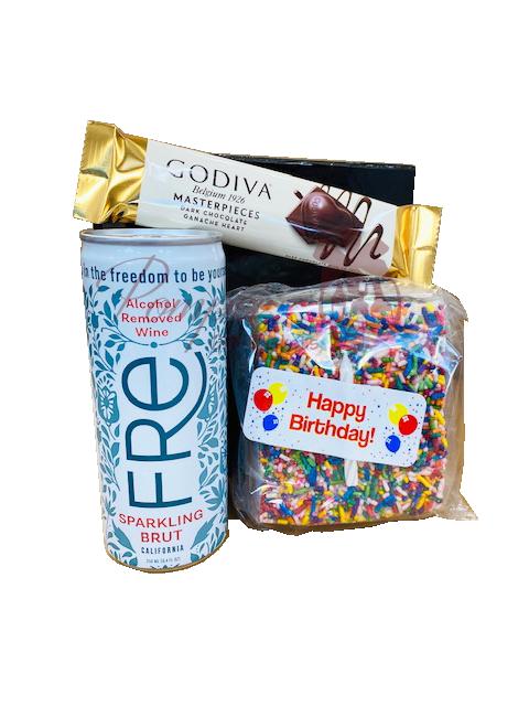 Non-Alcoholic Birthday Surprise Gift Set, Fre non alcoholic sparkling brut, no alcohol gift set, birthday gift set, quarantine gift set