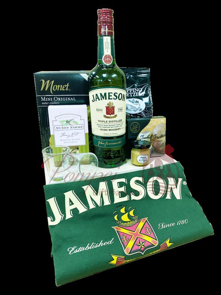 St Patricks Day Irish Whiskey Gift Basket, jameson gift basket, irish whiskey gift basket, st patricks day gifts, st paddys day gifts, st pattys day gifts, irish gift basket, pickle back gift basket, jameson gifts, engraved jameson