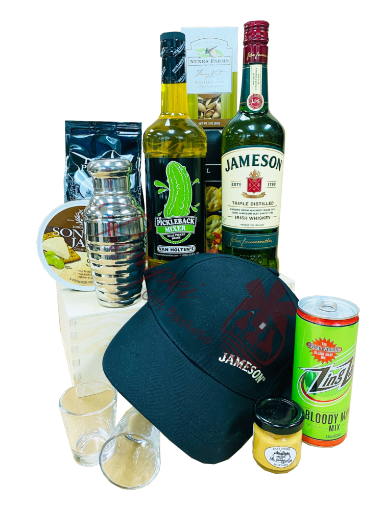 Supreme Irish Whiskey Gift Basket, jameson gift basket, irish whiskey gift basket, st patricks day gifts, st paddys day gifts, st pattys day gifts, irish gift basket, pickle back gift basket, jameson gifts, engraved jameson