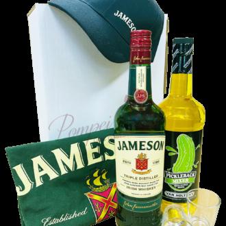 Deluxe Pickle Back Whiskey Gift Set, irish Whiskey Gift Basket, jameson gift basket, irish whiskey gift basket, st patricks day gifts, st paddys day gifts, st pattys day gifts, irish gift basket, pickle back gift basket, jameson gifts, engraved jameson, jameson Gift Set