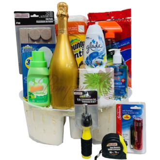 Welcome Home Sparkling Wine Gift Basket, new home gift basket, new home gift hamper, new home gifts, cleaning supply gift basket, welcome home gifts, new home owner gift, realtor closing gift