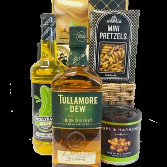 kind of a big dill whiskey gift basket, pickleback gift basket, pickle back shots, tullamore dew gift basket, whiskey gift basket, engraved whiskey, engraved tullamoredew, pickle lovers gifts, tully gift basket, whiskey gift ideas