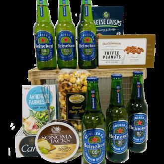 Double Zero Non-Alcoholic Beer Gift Basket, non alcoholic gift basket, no alcohol beer gift basket, heineken gift basket, beer gift basket