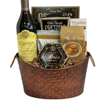 Oh My Caymus Wine Gift Basket, caymus wine gift basket, engraved caymus, caymus gifts, caymus wine delivery, caymus napa valley engraved, custom caymus wine, caymus gift hamper