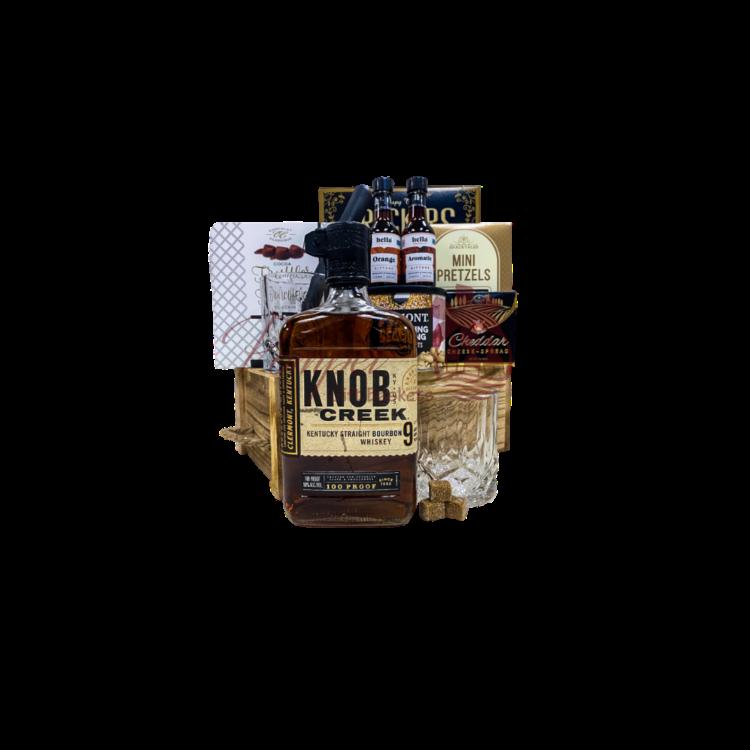 Knob Creek Old Fashioned Whiskey Gift Basket, old fashioned liquor gifts, bourbon whiskey gift basket, hella bitters gifts, old fashioned gift hampers, knob creek gifts, engraved knob creek whiskey, whiskey gift basket,