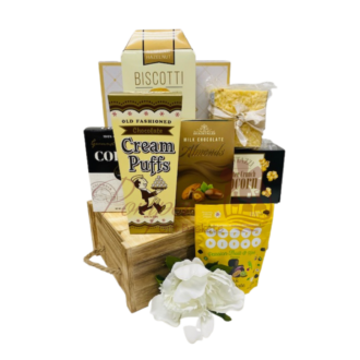 Golden Dreams Gourmet Gift Basket, gourmet gift basket, custom gourmet gift basket, yellow themed gifts, snack gift basket, food gift hamper, delivery gift basket, gift basket delivery, nonalcoholic gift basket